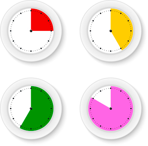 Set clocks isolates with bright sectorsのイラスト素材 [FYI03076841]