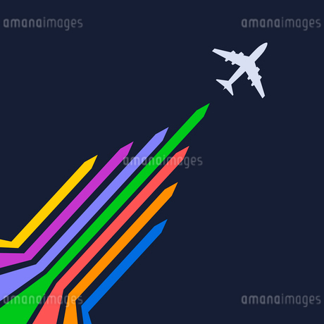 Plane silhouette on a blue background. Vector illustrationのイラスト素材 [FYI03076850]