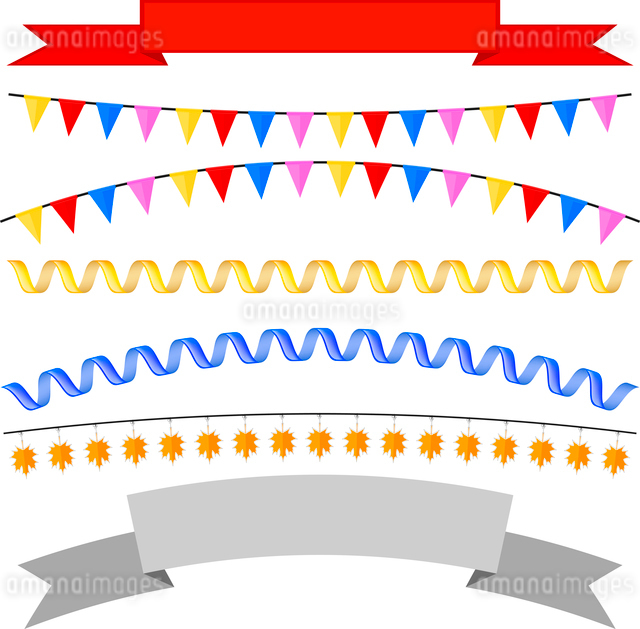 Set isolates flags, tape headers, garland. Vector illustrationのイラスト素材 [FYI03076854]