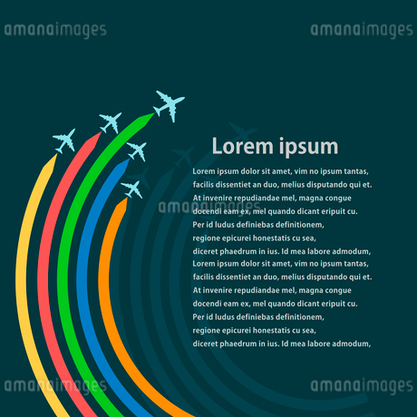 Set of aircraft on a blue background with bright trails. Vector illustrationのイラスト素材 [FYI03076858]