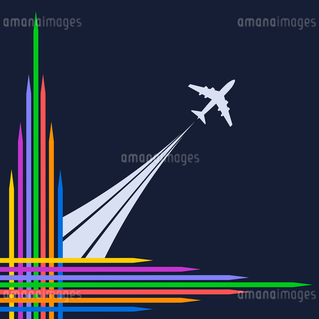Plane silhouette on a blue background and bright corner frame. Vector illustrationのイラスト素材 [FYI03076859]