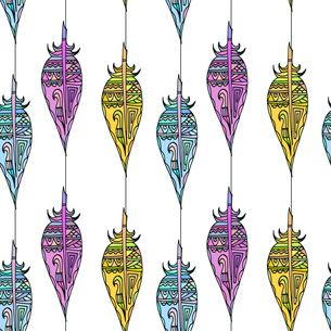 White seamless texture with colorful ornaments from bird feathers in tribal style. Vector illustratiのイラスト素材 [FYI03076911]