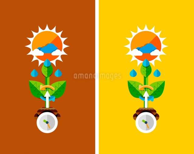 Flat design nature concept - plant growth. Can be used for web banners, printed materialsのイラスト素材 [FYI03077448]