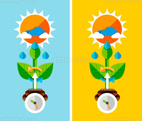 Flat design nature concept - plant growth. Can be used for web banners, printed materialsのイラスト素材 [FYI03077461]