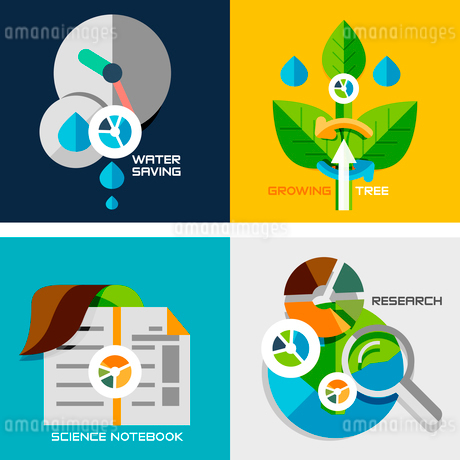 Set of flat design concepts - nature research. Water saving, plant growth, science notebook, researcのイラスト素材 [FYI03077471]