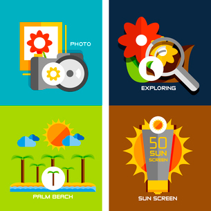 Set of flat design concepts - travel, holiday. Photo camera, gallery, exlore, palm beach, sun screenのイラスト素材 [FYI03077474]