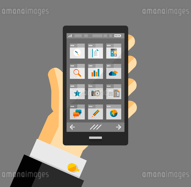 Businessman hold smartphone with apps. Responsive flat ui designのイラスト素材 [FYI03077477]