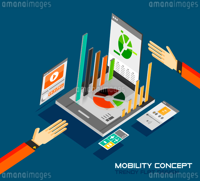 Mobility concept flat design. 3d tablet with graphics, calculator, movie, music conceptsのイラスト素材 [FYI03077482]