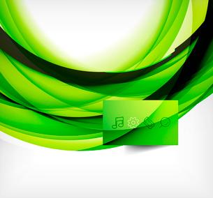 Green bright vector wave designのイラスト素材 [FYI03077926]