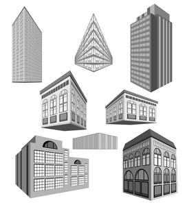 vector set of buildingsのイラスト素材 [FYI03078187]