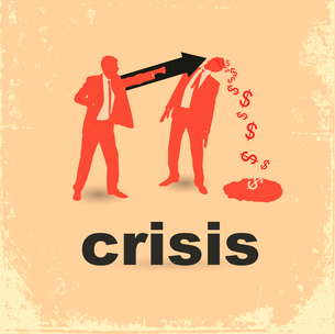 The concept of the financial crisis. Duel of two businessmen.のイラスト素材 [FYI03078220]