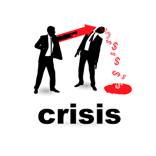 The concept of the financial crisis. Duel of two businessmen.のイラスト素材 [FYI03078221]