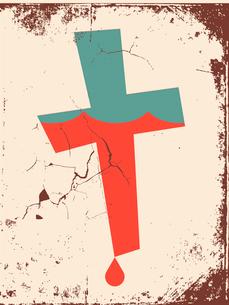 Vector grunge Christian cross backgroundのイラスト素材 [FYI03078223]