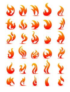 Fire flames on white background vector, set iconsのイラスト素材 [FYI03078285]