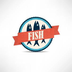 vintage retro fish  labelsのイラスト素材 [FYI03078297]