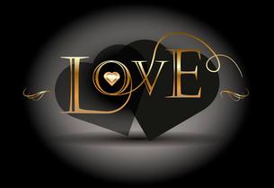 Love poster. Golden calligraphic vectorのイラスト素材 [FYI03078419]
