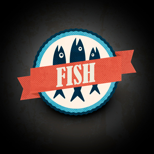vintage retro fish  labelsのイラスト素材 [FYI03078434]