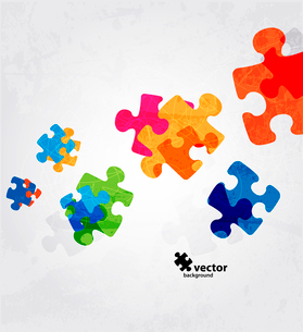 abstract puzzle shape colorful vector designのイラスト素材 [FYI03078489]