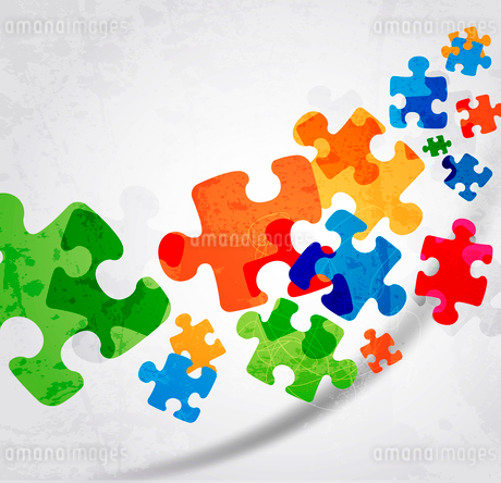 abstract puzzle shape colorful vector designのイラスト素材 [FYI03078492]