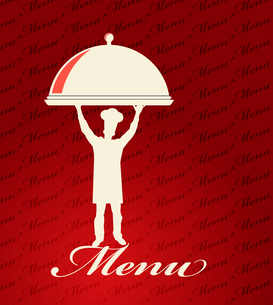 Restaurant menu design. With the silhouette  cook chefのイラスト素材 [FYI03078513]