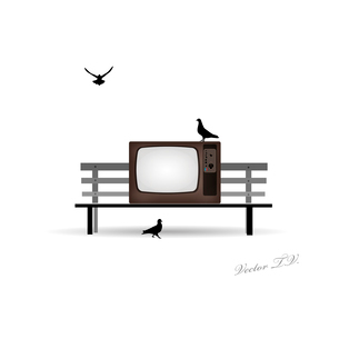 Retro TV on the bench and pigeonsのイラスト素材 [FYI03078523]
