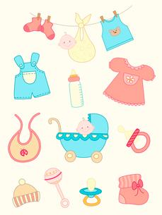 set of  hand drawn baby iconsのイラスト素材 [FYI03078670]