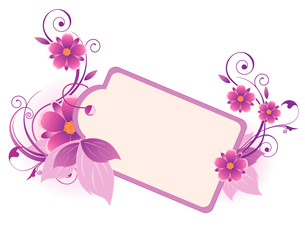 violet  banner with flowers, leaves  and ornamentのイラスト素材 [FYI03078694]