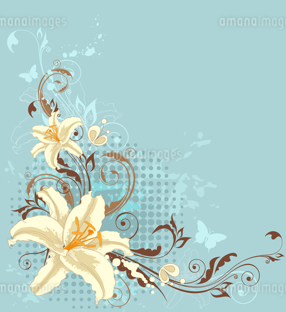 vintage vector floral background with lily and ornamentのイラスト素材 [FYI03078718]