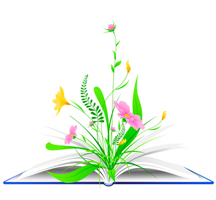 open book with pink flowers and green grass on a white backgroundのイラスト素材 [FYI03078720]