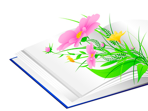 open book with pink flowers and green grass on a white backgroundのイラスト素材 [FYI03078721]