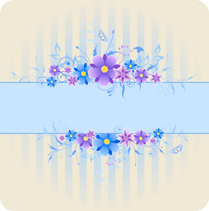 striped  background with violet and blue flowersのイラスト素材 [FYI03078723]
