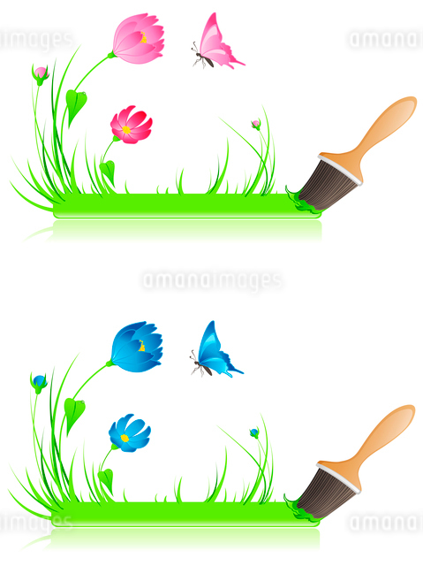 green banner with paintbrush, grass, butterfly and flowersのイラスト素材 [FYI03078734]