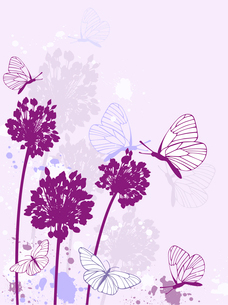 violet floral background with butterflies and blotsのイラスト素材 [FYI03078738]