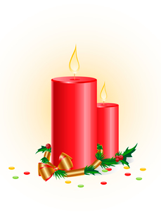 Christmas background with red candle and golden ribbonのイラスト素材 [FYI03078752]