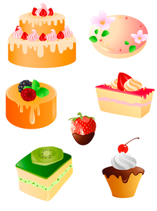 set of sweet dessert and fruit  iconsのイラスト素材 [FYI03078754]