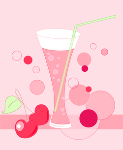 glass with drink and cherry on a pink backgroundのイラスト素材 [FYI03078755]