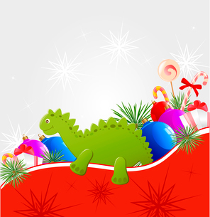 Christmas vector  background with decorations and toy dragonのイラスト素材 [FYI03078778]