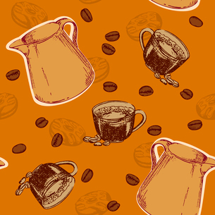 vector coffee seamless patternのイラスト素材 [FYI03078794]
