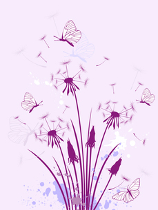 violet floral background with dandelionのイラスト素材 [FYI03078805]
