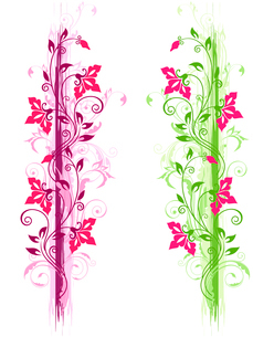 Floral grunge ornament with green and violet ornament and red flowersのイラスト素材 [FYI03078815]