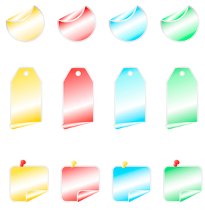 colored shining stickers with  bend cornersのイラスト素材 [FYI03078821]