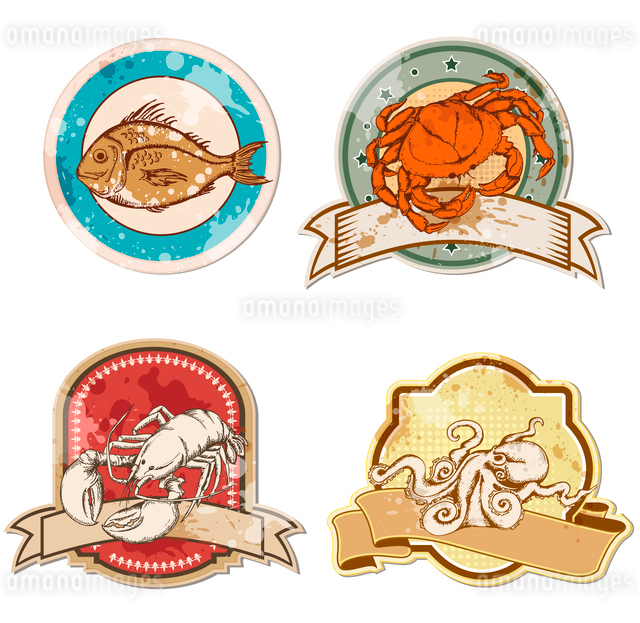set of  vintage labels with seafoodのイラスト素材 [FYI03078832]