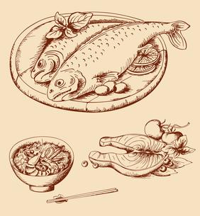 hand drawn vintage seafoodのイラスト素材 [FYI03078834]