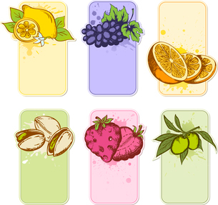 set of hand drawn vector fruit labelsのイラスト素材 [FYI03078890]