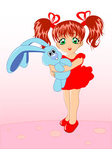 little girl with a toy rabbit in hands on a pink backgroundのイラスト素材 [FYI03078897]