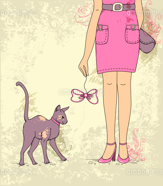 Hand drawn vector background with girl and catのイラスト素材 [FYI03078899]