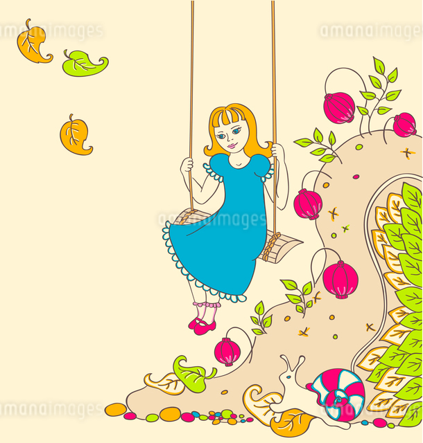 background with a little girl on a swingのイラスト素材 [FYI03078904]
