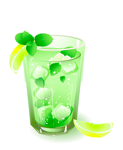glass with drink, lemon, ice and leaves of mint  isolated on a white backgroundのイラスト素材 [FYI03078909]