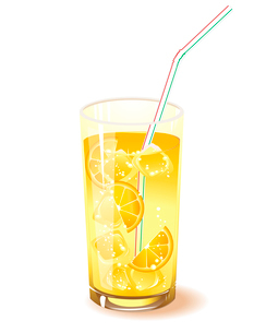 glass with drink, orange and ice isolated on a white backgroundのイラスト素材 [FYI03078910]