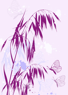 violet abstract floral background with oats and butterfliesのイラスト素材 [FYI03078925]